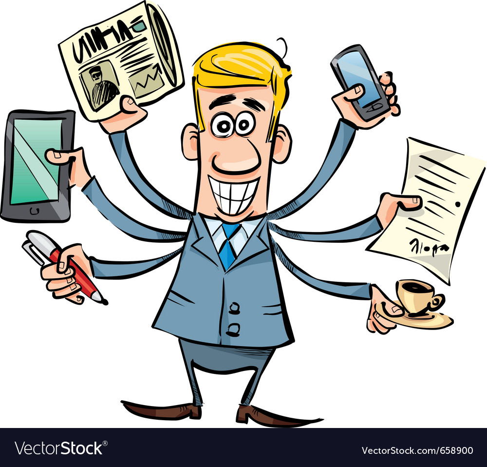 Busy businessman vector | Price: 3 Credit (USD $3)