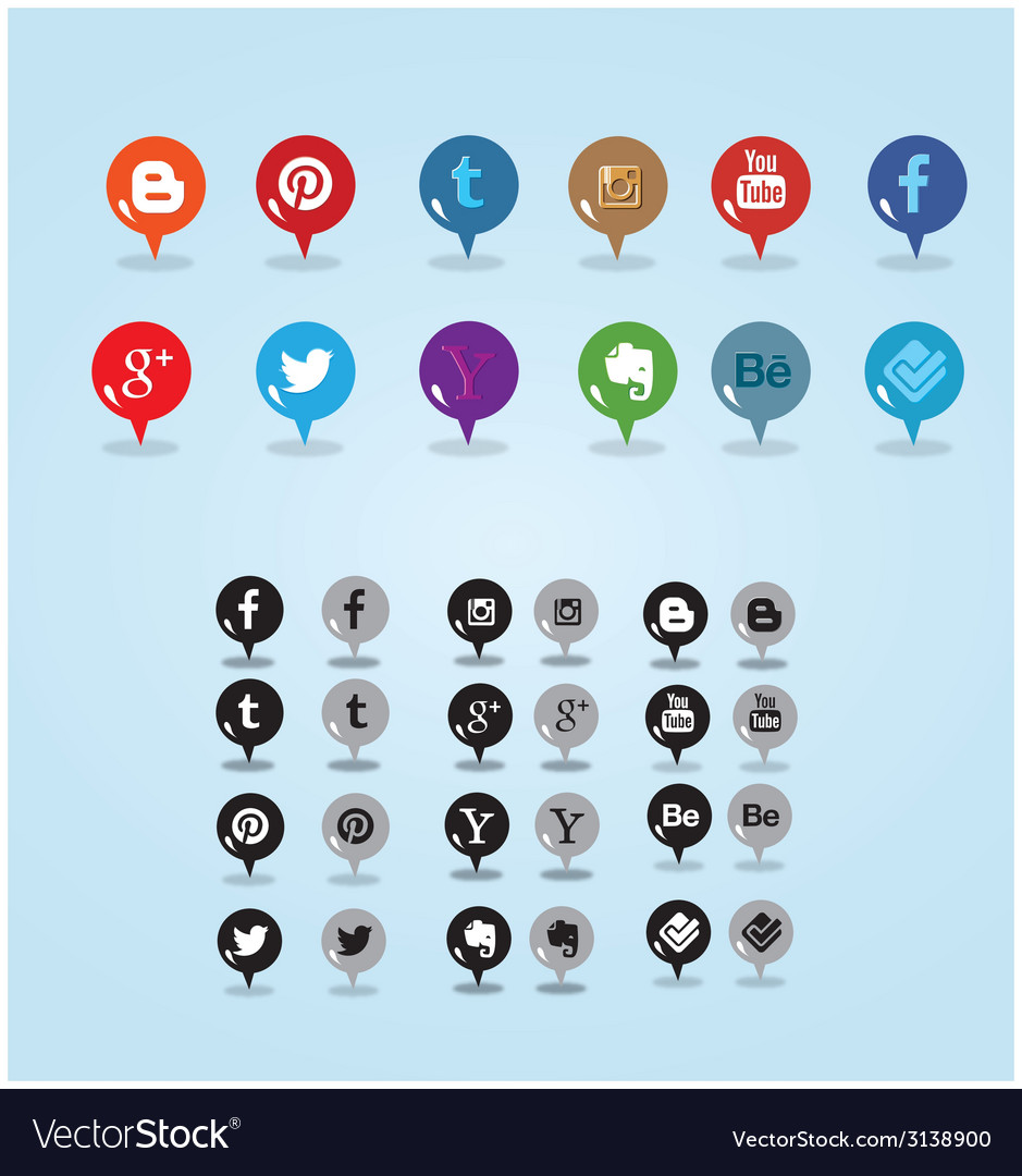 Colorful and inverted pin social media icon vector | Price: 1 Credit (USD $1)
