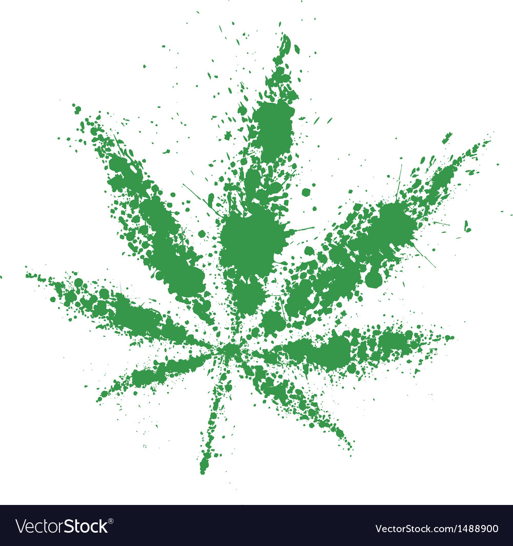 Grunge cannabis green leaf vector | Price: 1 Credit (USD $1)