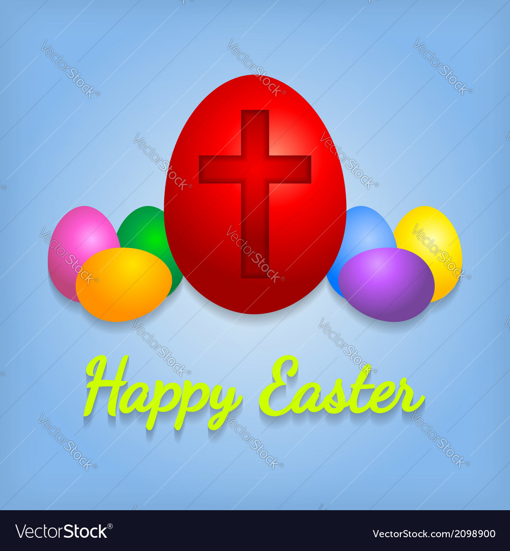Happy easter eggs card with cross symbol vector | Price: 1 Credit (USD $1)