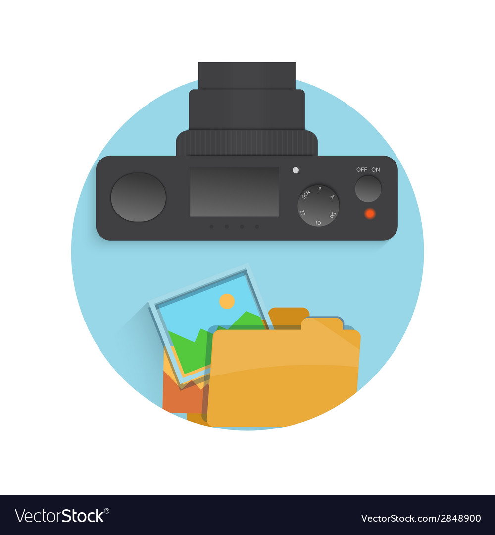 Photograph icon of camera folder and photo vector | Price: 1 Credit (USD $1)