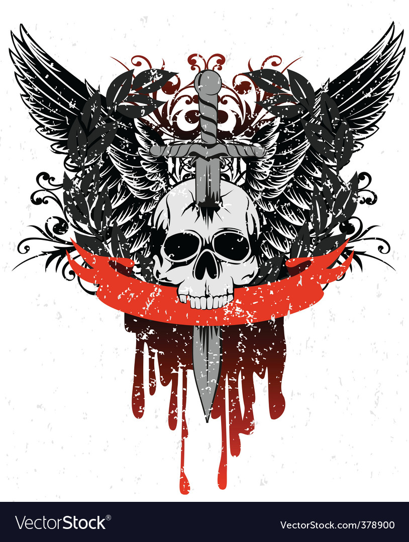 Skull with wings vector | Price:  Credit (USD $)