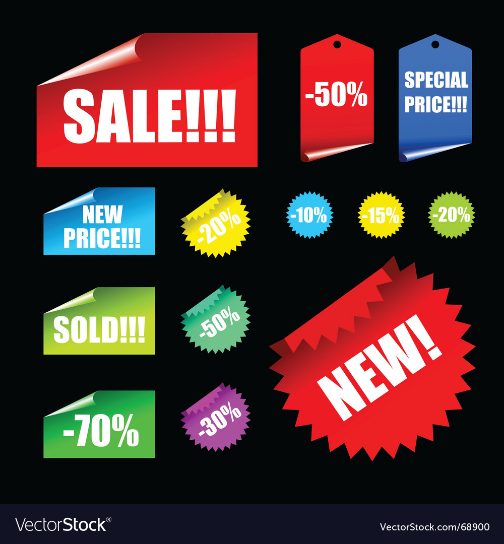 Tags and banner elements vector | Price: 1 Credit (USD $1)