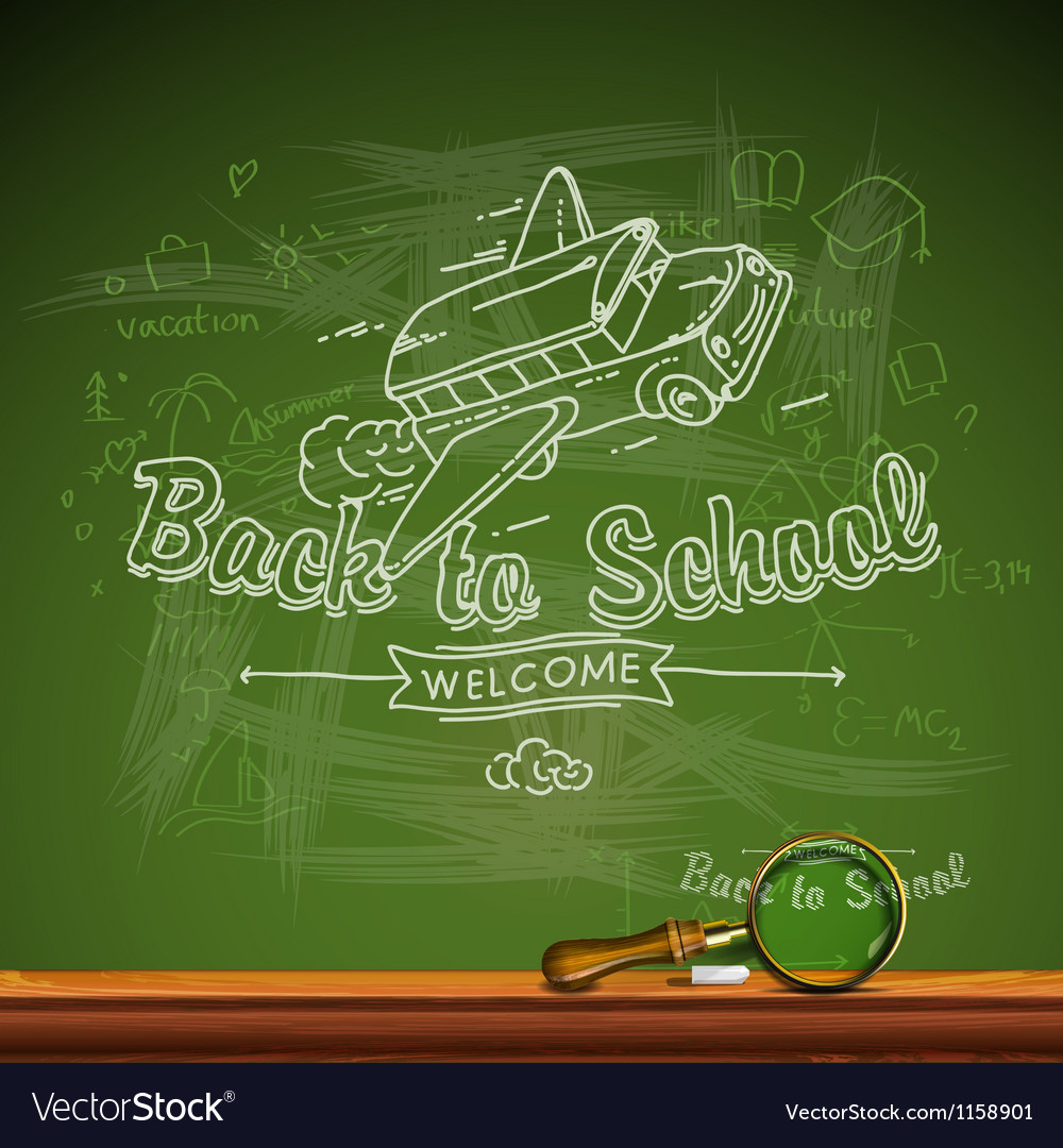 Back to school chalk-writing on blackboard vector | Price: 1 Credit (USD $1)