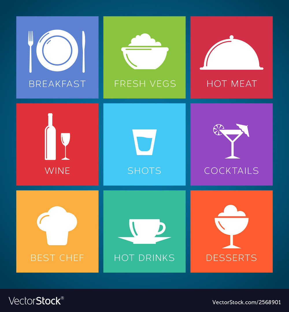 Bar and restaurant flat style icon set vector | Price: 1 Credit (USD $1)