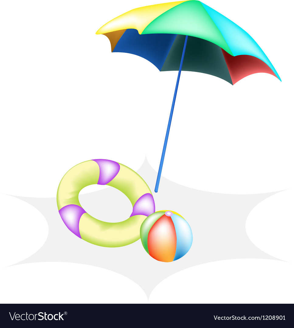 Beach ball with inflatable ring and umbrella vector | Price: 1 Credit (USD $1)