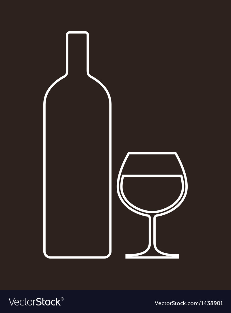 Bottle and glass of alcohol vector | Price: 1 Credit (USD $1)