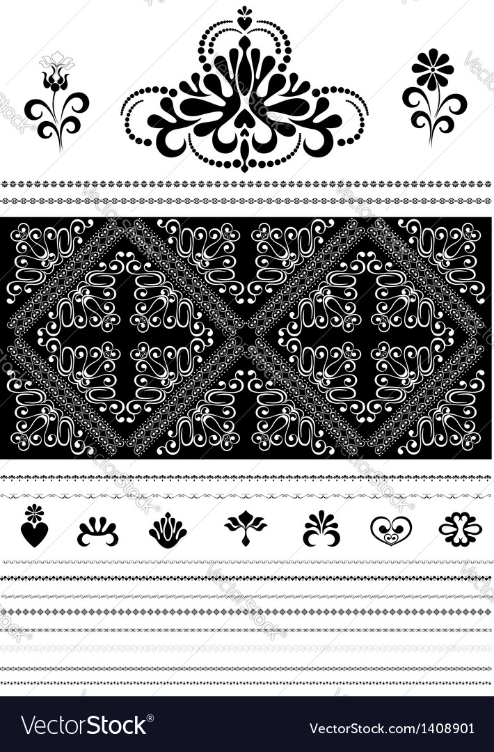 Calligraphic openwork border and ornaments for des vector | Price: 1 Credit (USD $1)