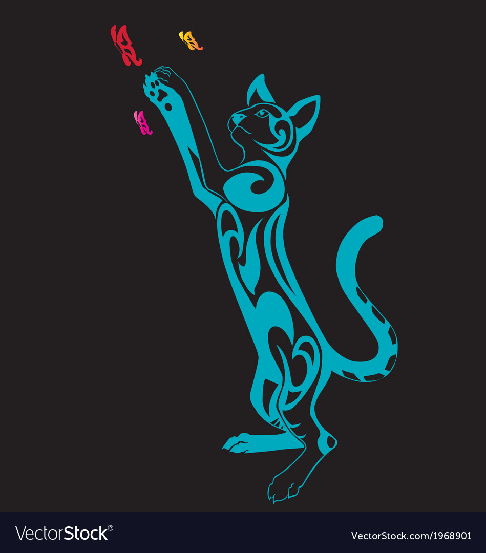 Decorative cat ornament standing on isolate backg vector   Price: 1 Credit (USD $1)