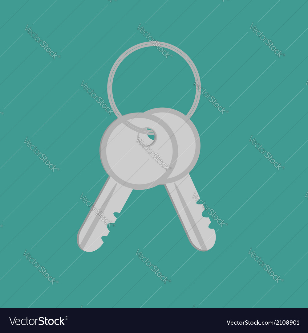 Door keys with ring flat design style vector | Price: 1 Credit (USD $1)