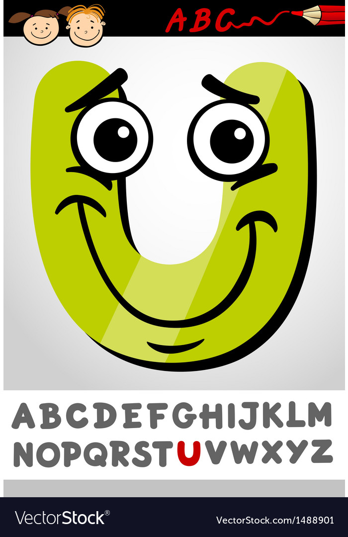 Funny letter u cartoon vector | Price: 1 Credit (USD $1)