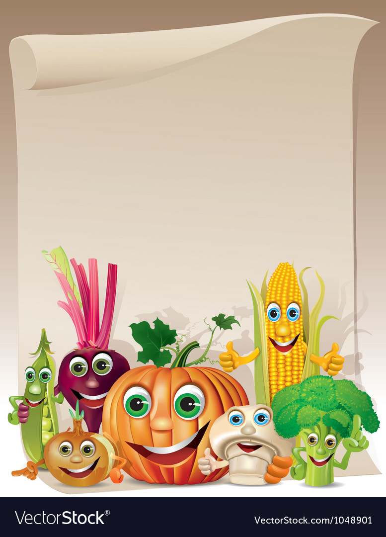 Funny vegetables cartoon company scroll vector | Price: 3 Credit (USD $3)