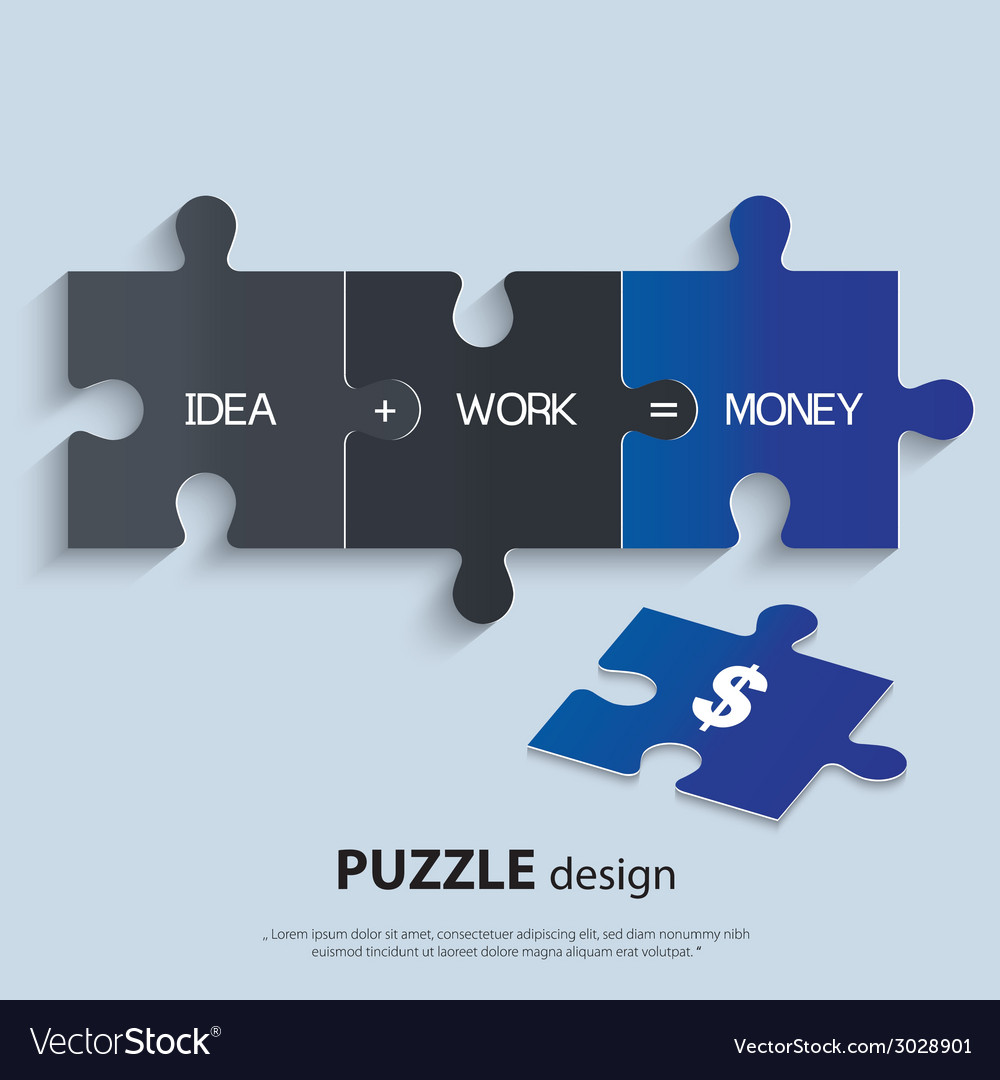 Piece of jigsaw puzzle showing business equation vector | Price: 1 Credit (USD $1)