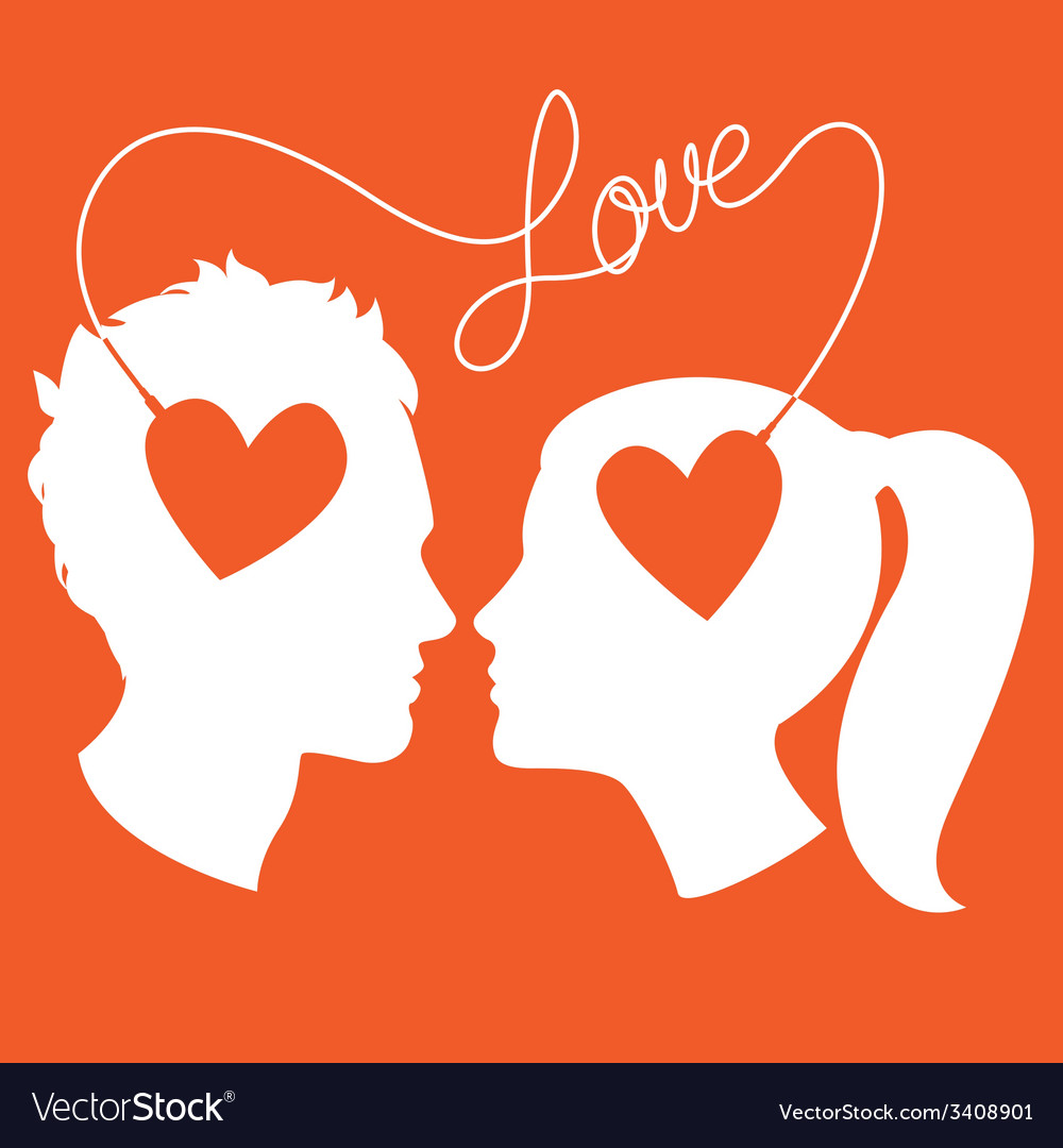 Profiles of man and woman connected by love wire vector | Price: 1 Credit (USD $1)