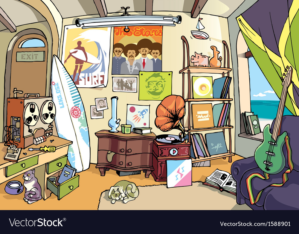 Room of a surfer vector | Price: 3 Credit (USD $3)