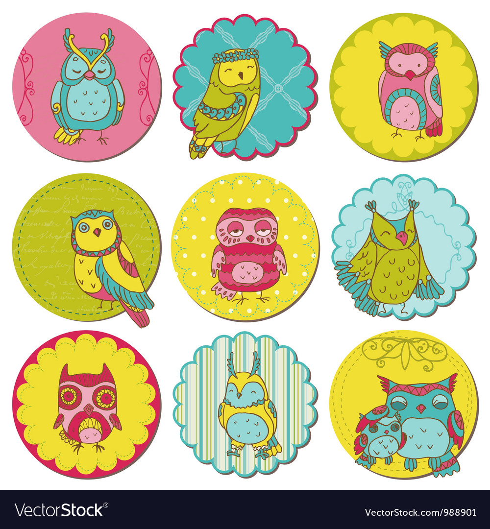 Scrapbook design elements - tags with cute owls vector | Price: 1 Credit (USD $1)