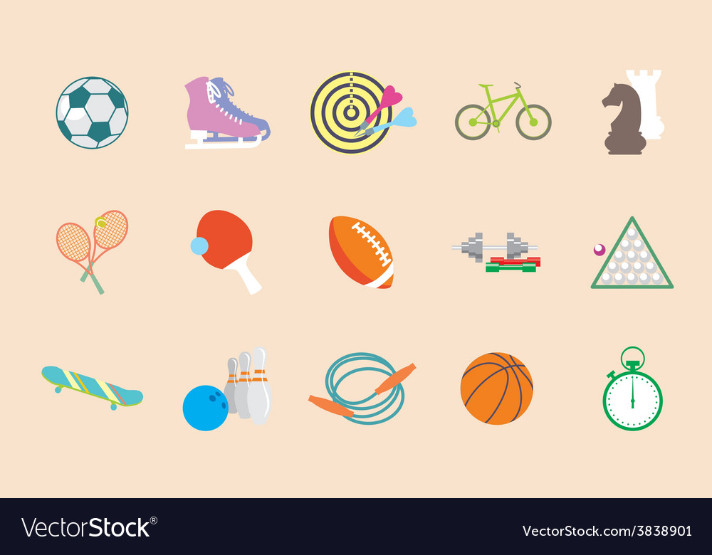 Set of sport icons in flat design vector | Price: 1 Credit (USD $1)