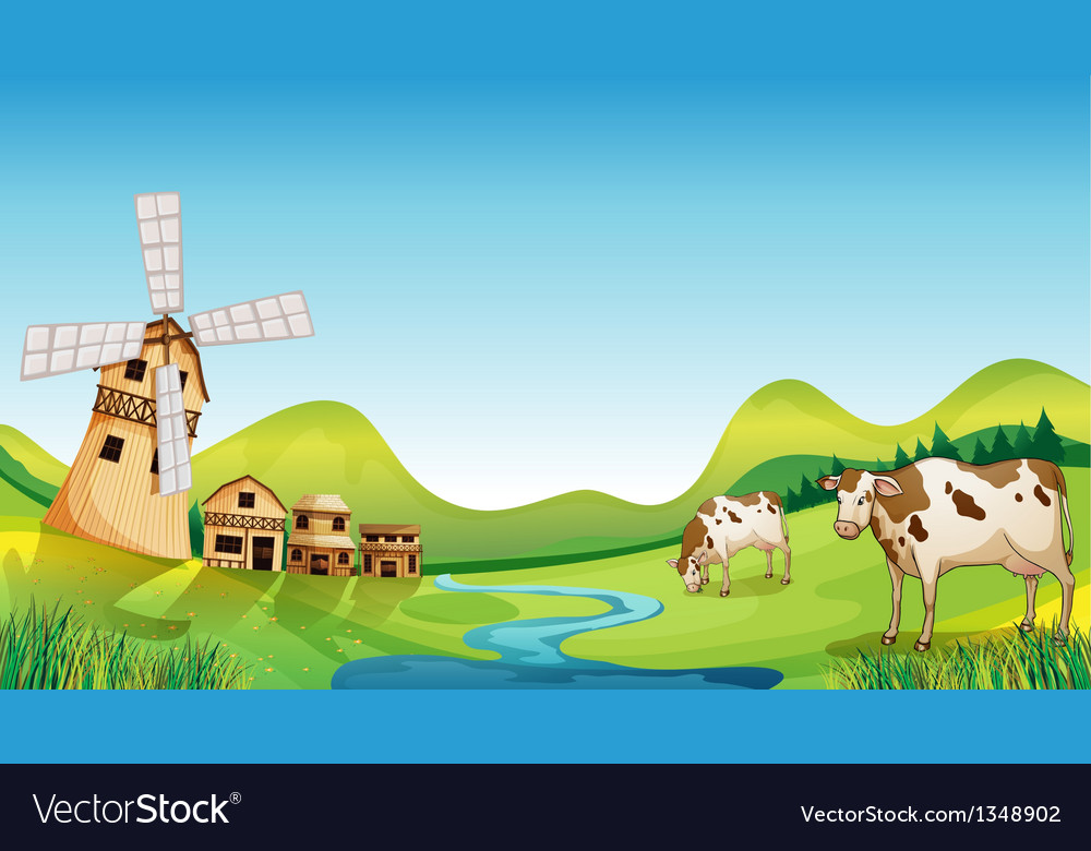 A farm with a barn and cows vector | Price: 1 Credit (USD $1)