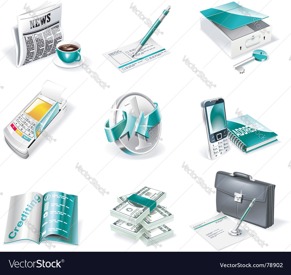 Banking icon set vector | Price: 5 Credit (USD $5)