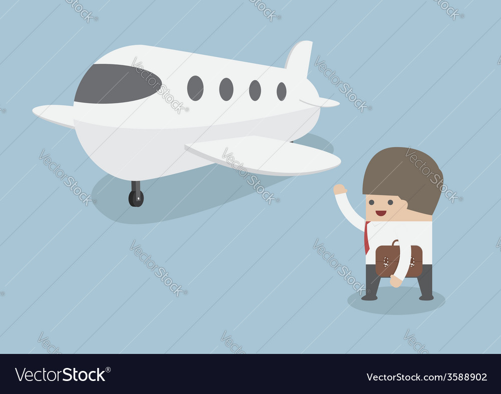Businessman with baggage walking towards private j vector   Price: 1 Credit (USD $1)