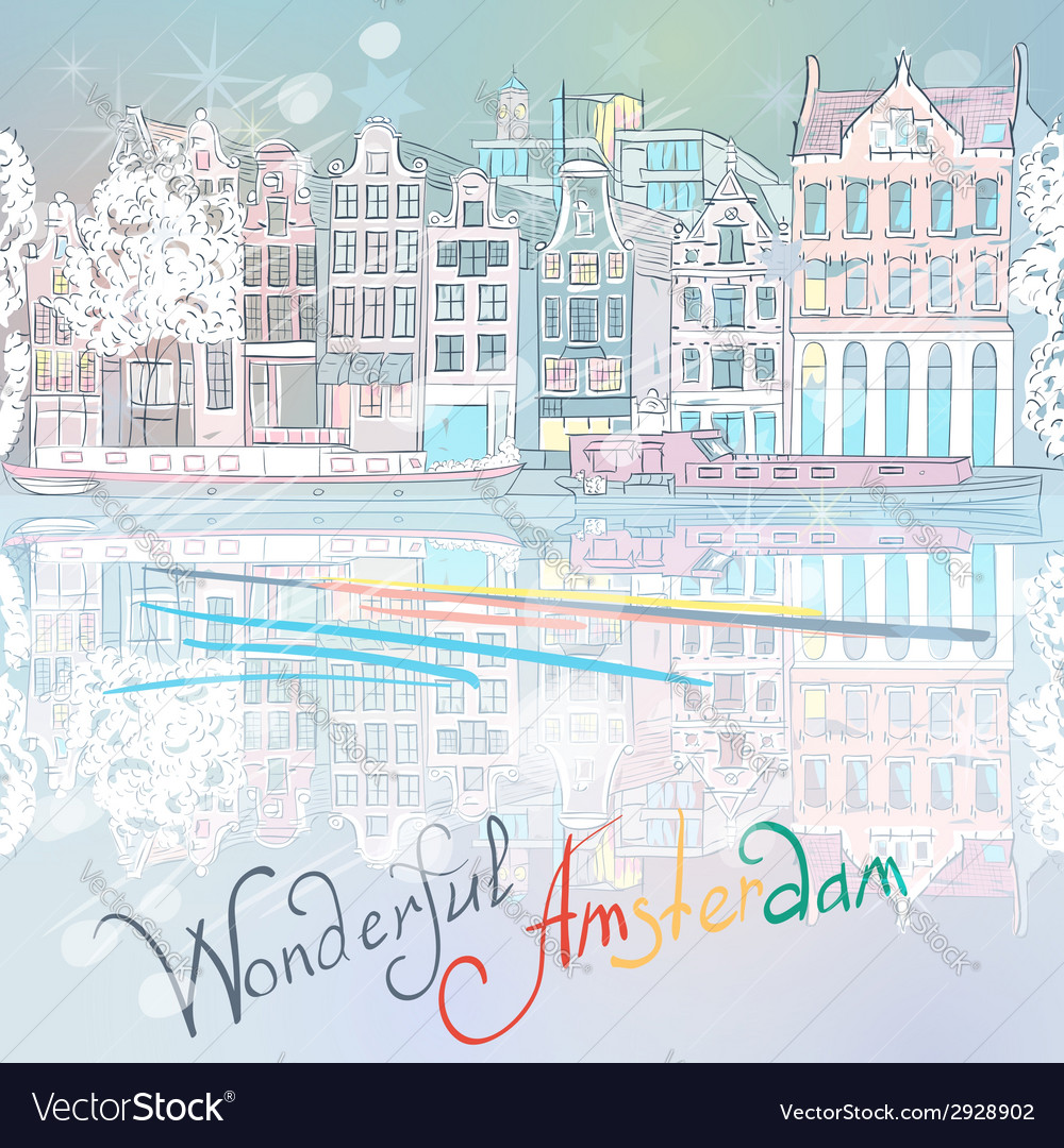 Christmas amsterdam canal vector | Price: 1 Credit (USD $1)