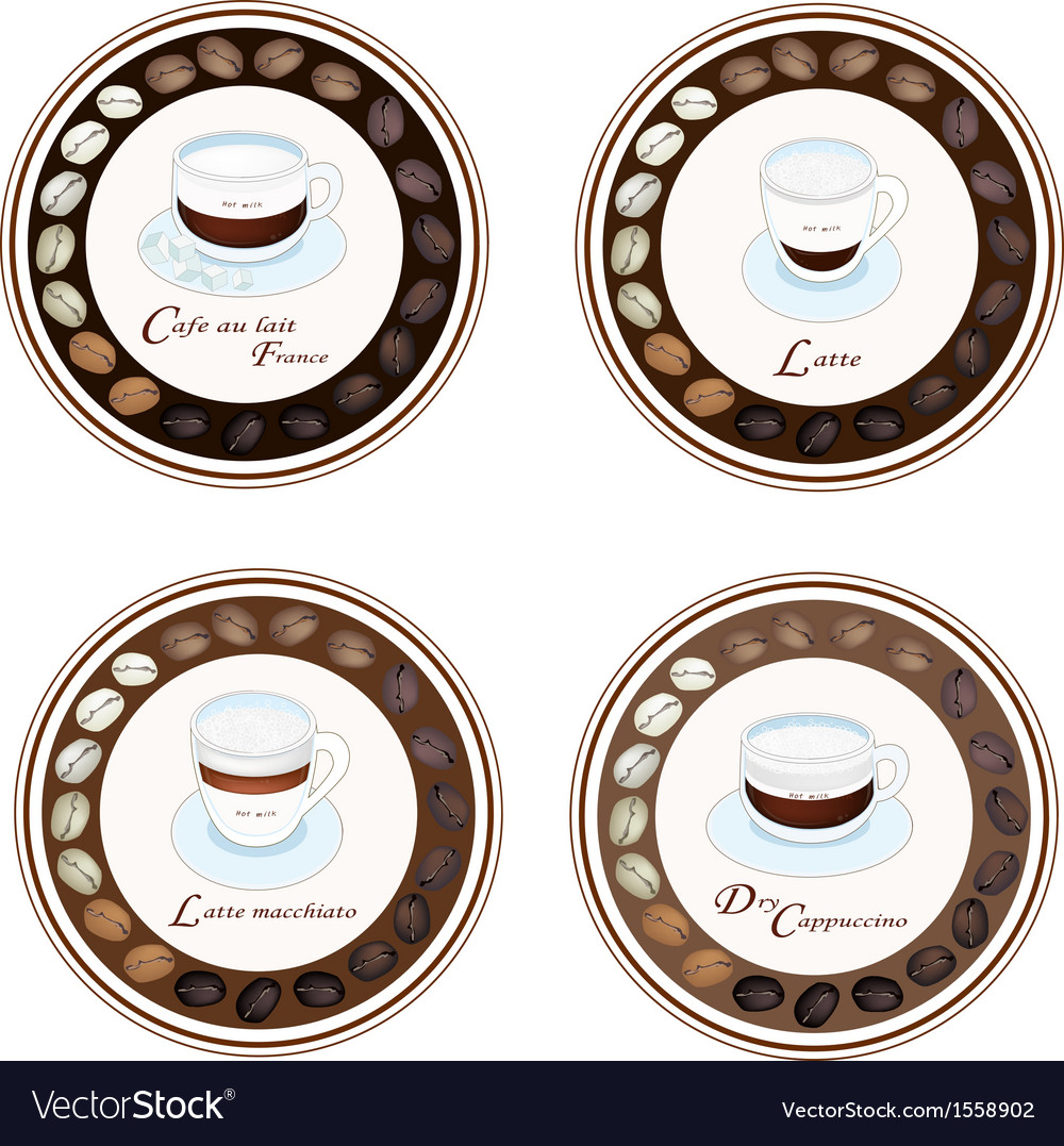 Four kind of coffee beverage in retro round label vector | Price: 1 Credit (USD $1)