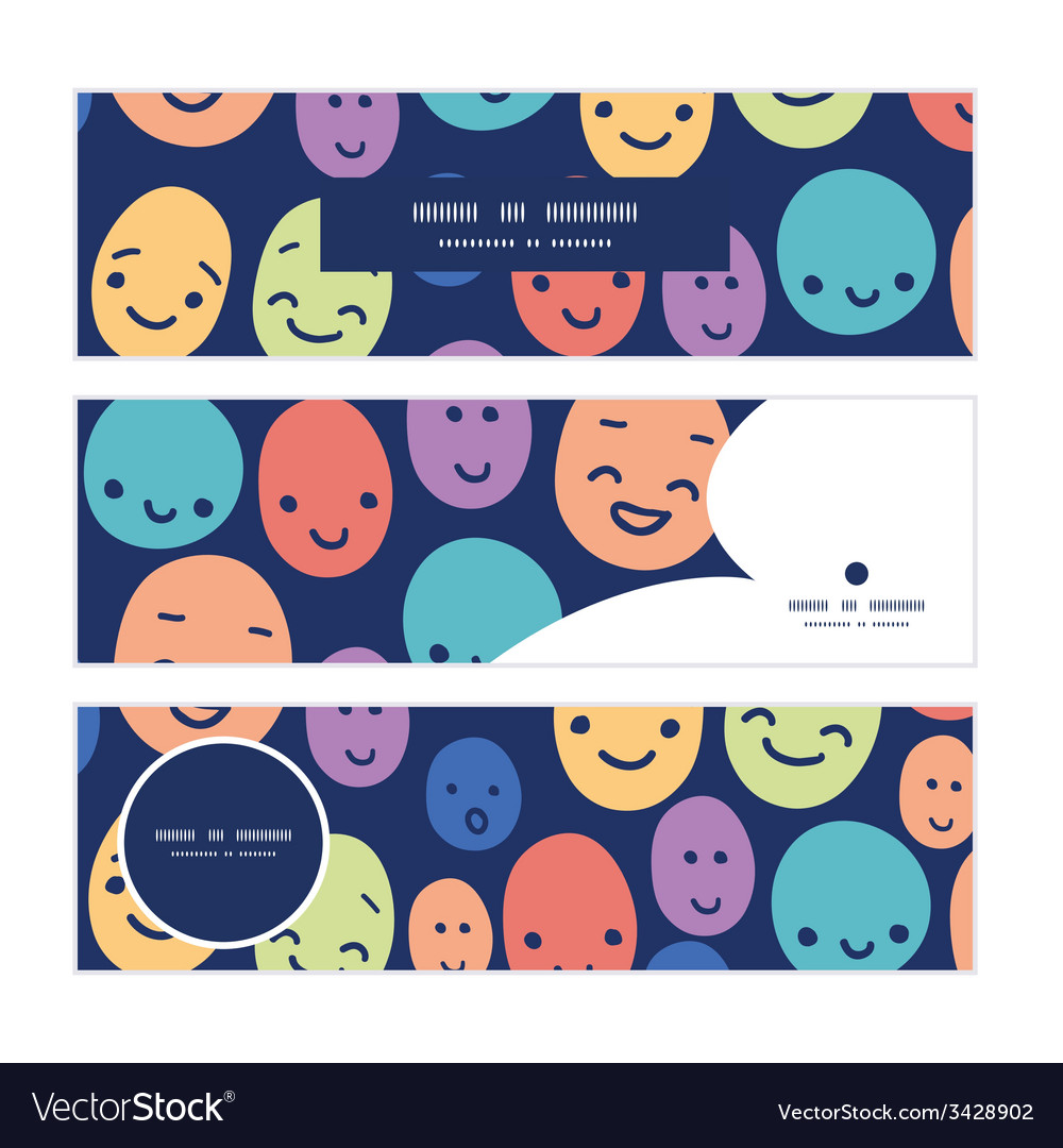 Funny faces horizontal banners set pattern vector   Price: 1 Credit (USD $1)