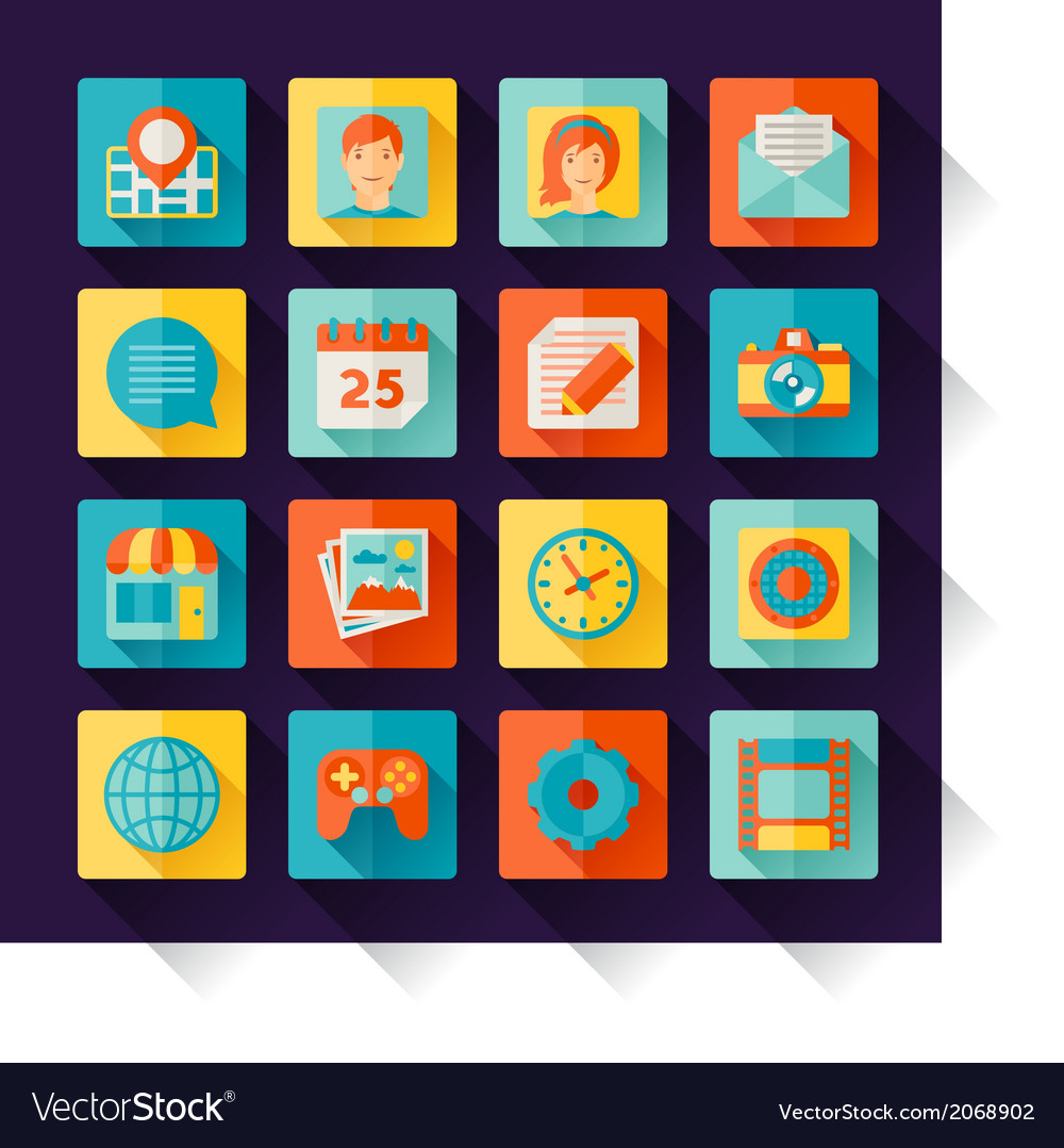 Icons web and mobile applications in flat design vector | Price: 1 Credit (USD $1)