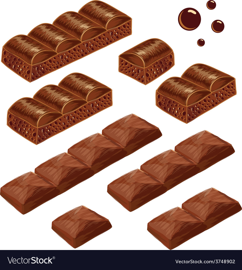 Porous and milk chocolate pieces isolated vector | Price: 1 Credit (USD $1)