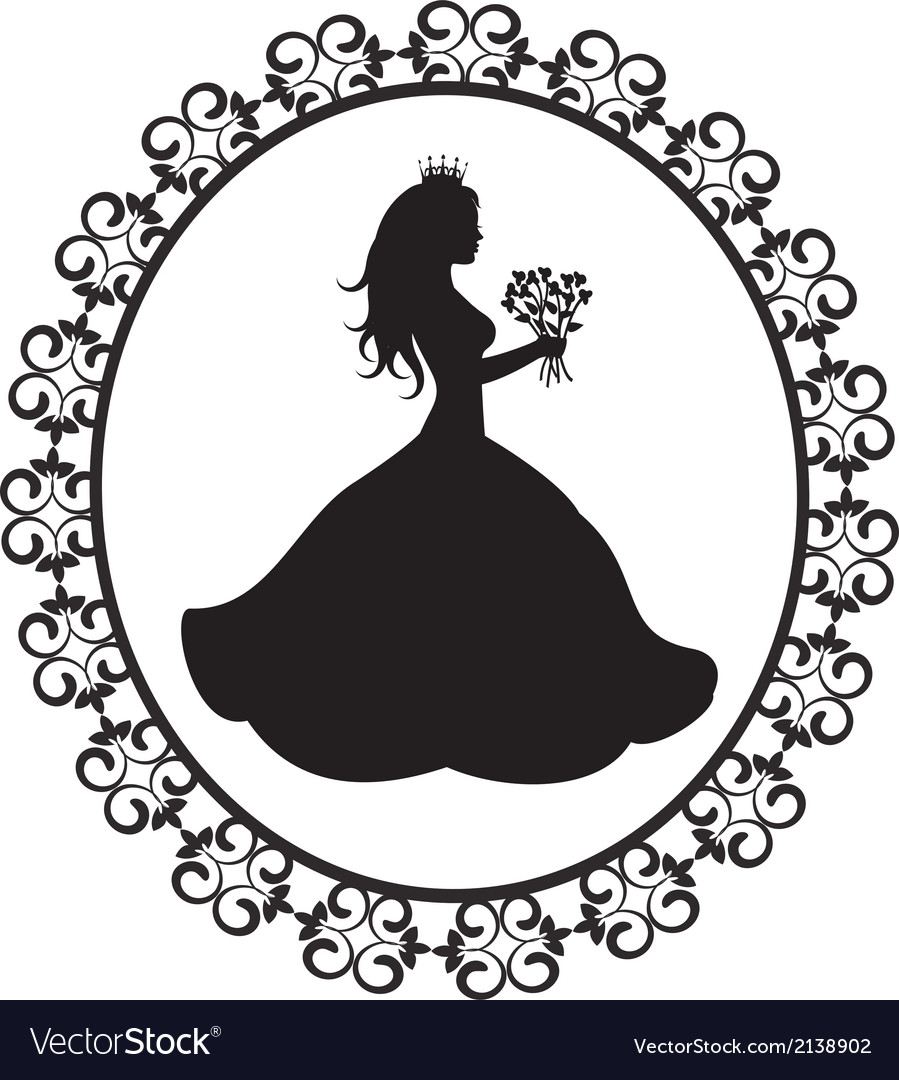 Princess silhouette with flowers in vintage frame vector | Price: 1 Credit (USD $1)