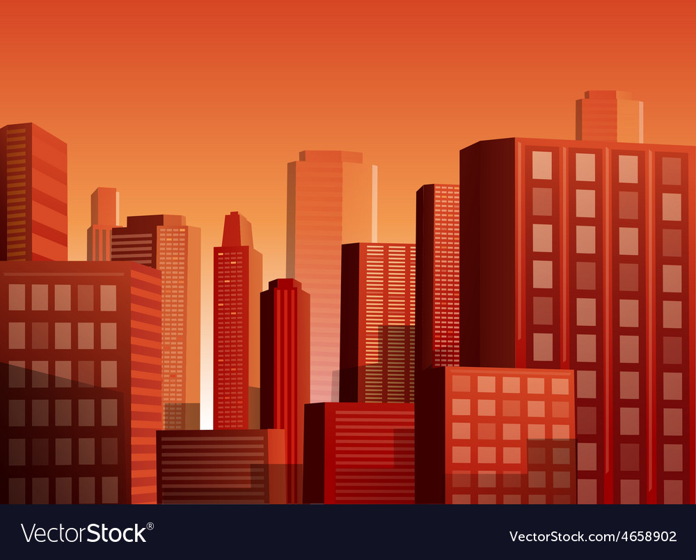 Sunset cityscape background vector