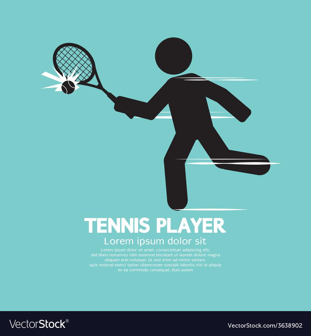 Tennis player black graphic symbol vector | Price: 1 Credit (USD $1)