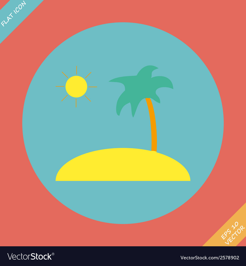 Tropical sea small island - vector | Price: 1 Credit (USD $1)