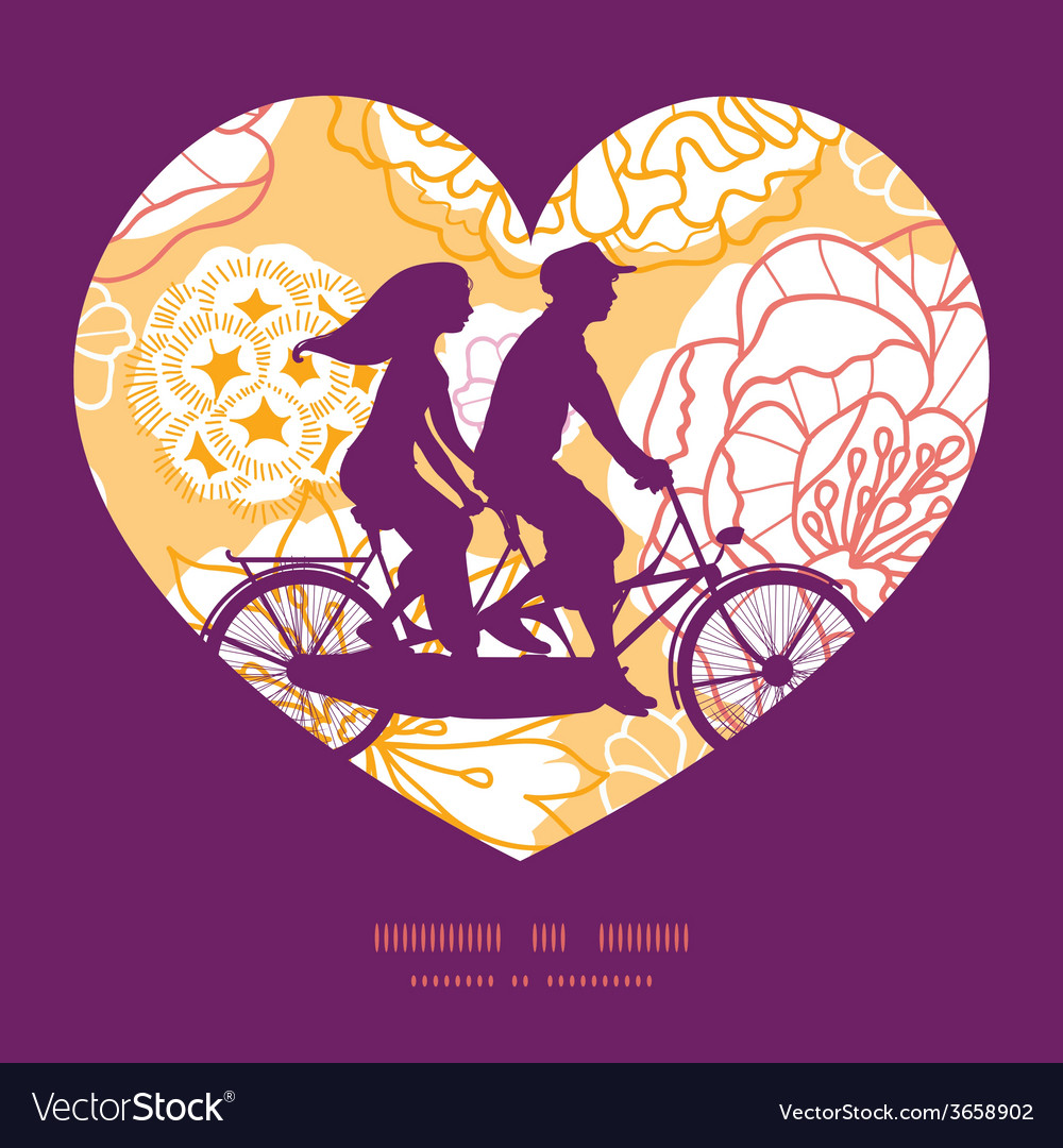 Warm day flowers couple on tandem bicycle heart vector | Price: 1 Credit (USD $1)