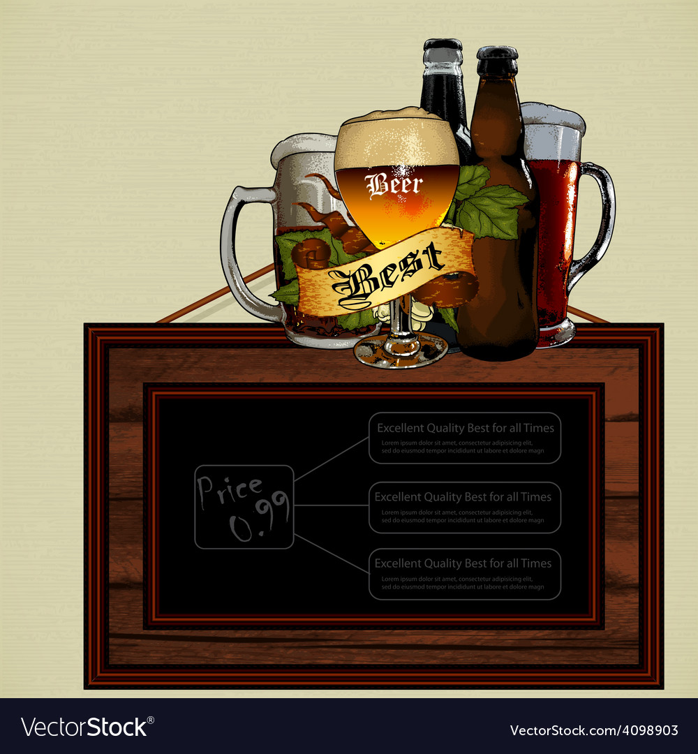 Beer menu vector | Price: 3 Credit (USD $3)