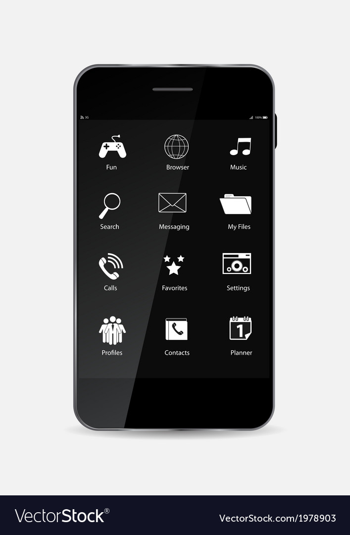 Black mobile phone vector | Price: 1 Credit (USD $1)