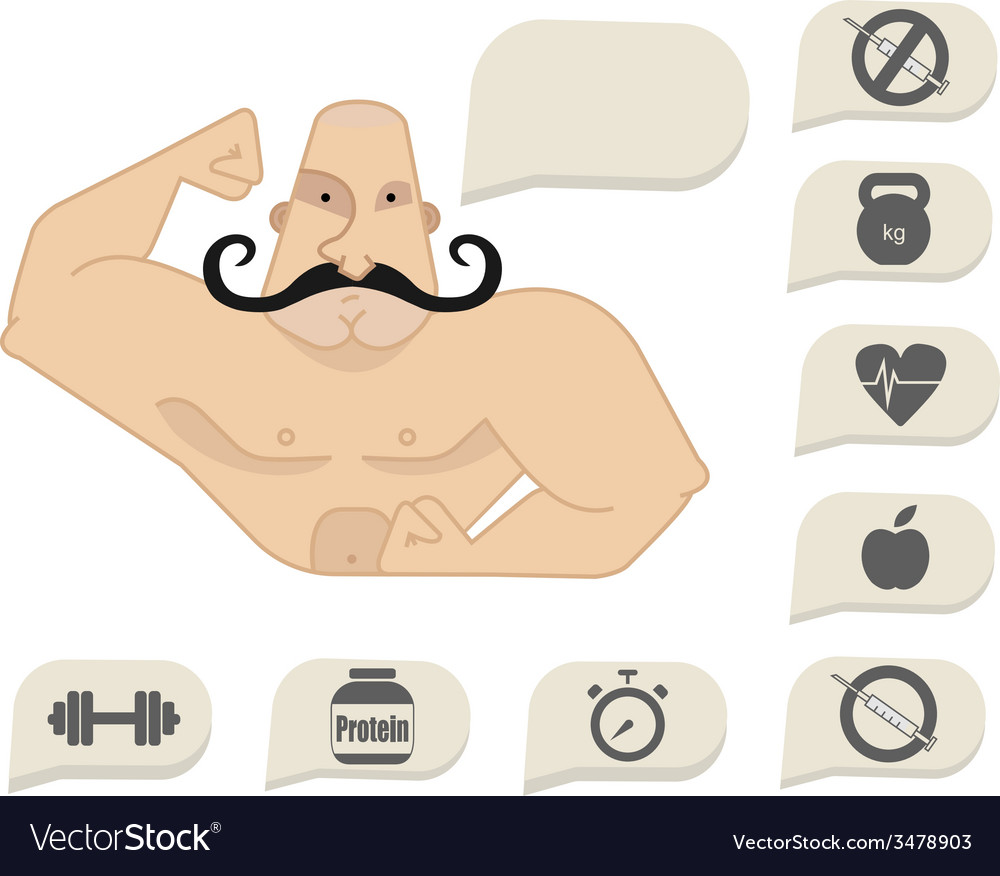 Bodybuilder torso with speech bubbles vector | Price: 1 Credit (USD $1)