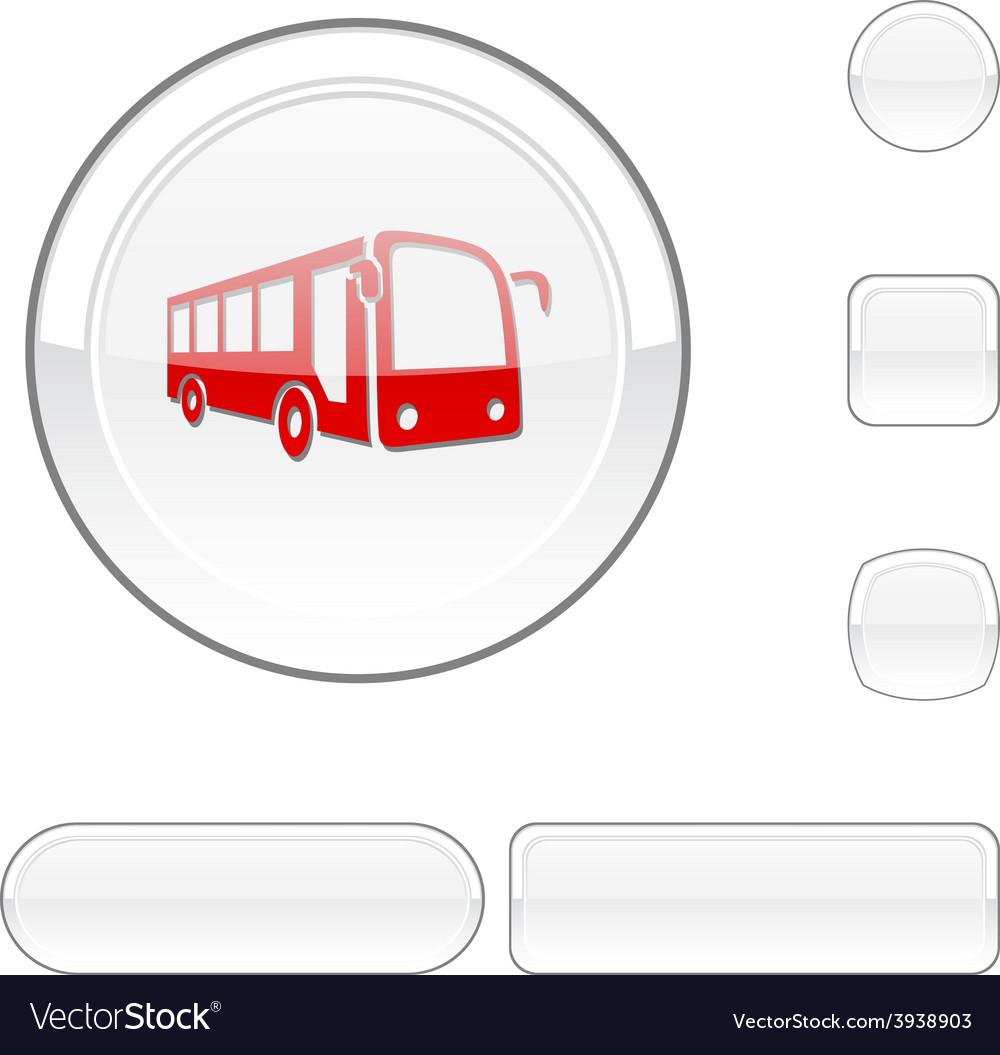 Bus white button vector | Price: 1 Credit (USD $1)