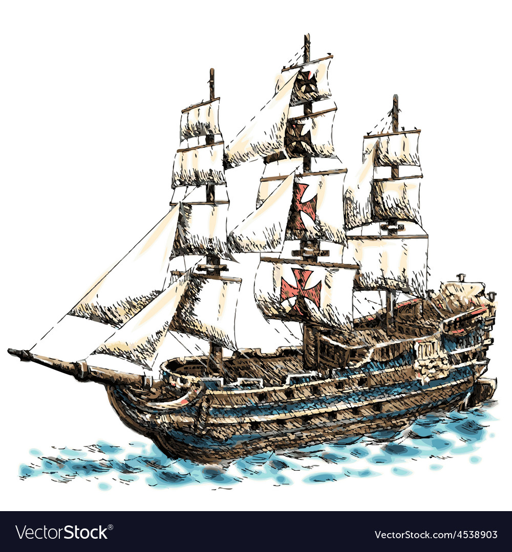 Columbus ship vector | Price: 3 Credit (USD $3)