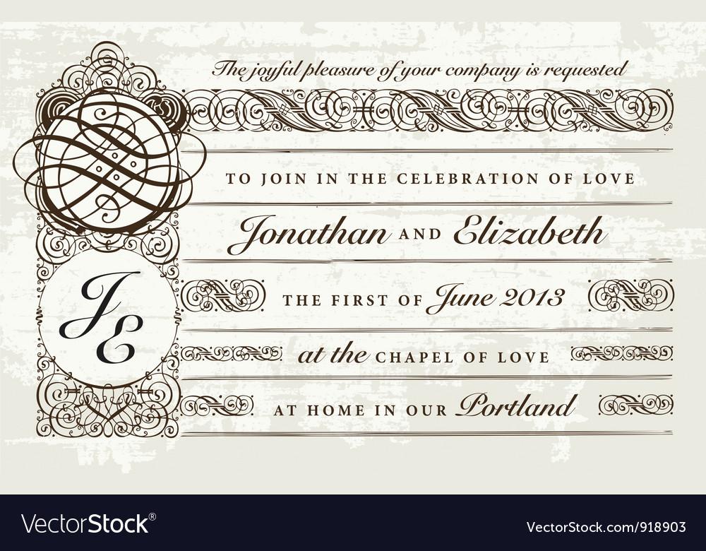 Distressed victorian invitation vector | Price: 1 Credit (USD $1)