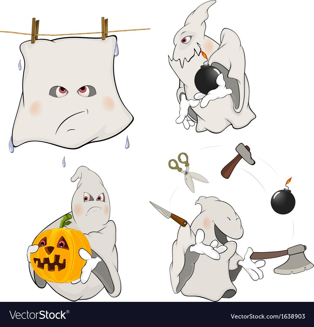 Ghosts clip art cartoon vector | Price: 1 Credit (USD $1)