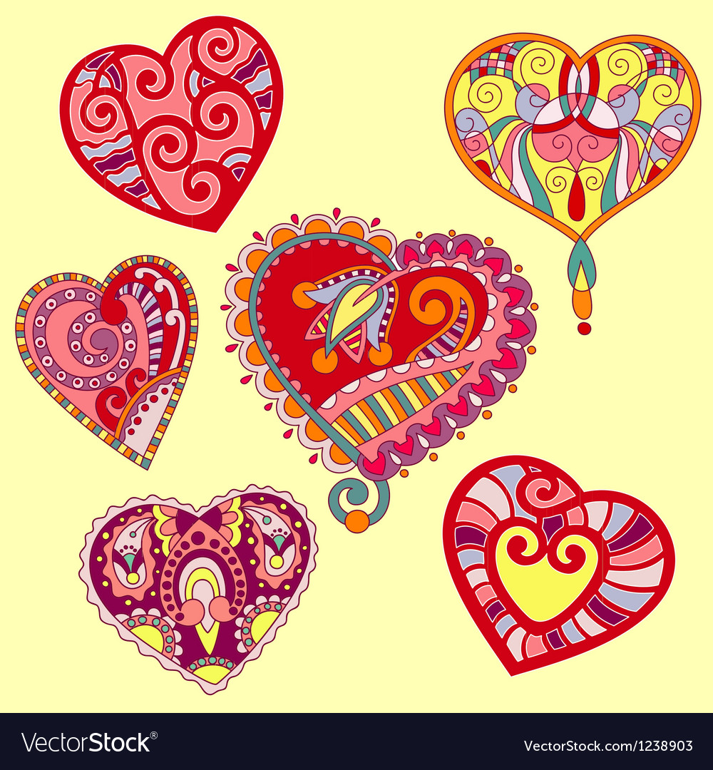 Hand draw ornate heart shape set vector | Price: 1 Credit (USD $1)