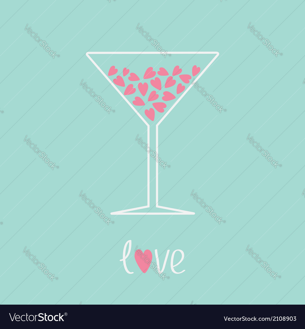 Martini glass with pink hearts inside love card vector | Price: 1 Credit (USD $1)