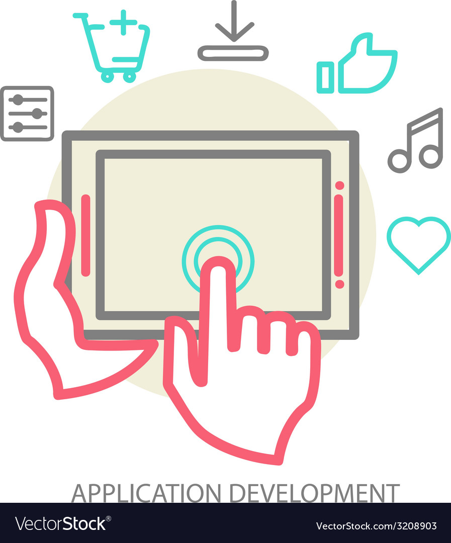Mobile app development concept line vector | Price: 1 Credit (USD $1)