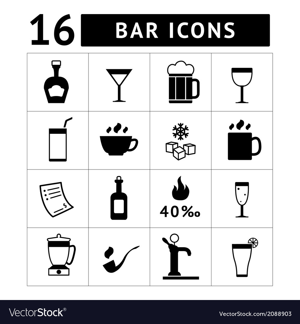 Set of bar drinks and beverages icons vector | Price: 1 Credit (USD $1)
