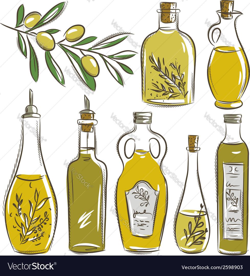Set of bottle for olive oil vector | Price: 1 Credit (USD $1)