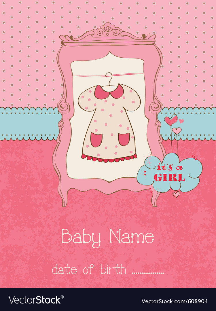 Baby girl arrival card with place for your text in vector | Price: 1 Credit (USD $1)