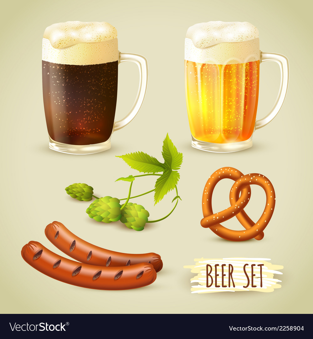 Beer and snacks set vector