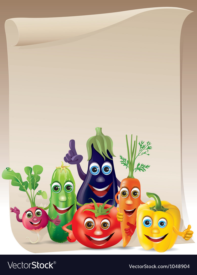 Funny vegetables company scroll vector | Price: 3 Credit (USD $3)