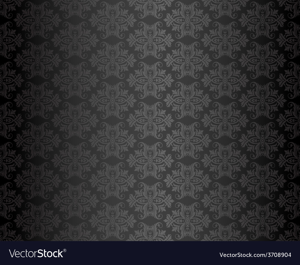 Luxury seamless black floral wallpaper vector | Price: 1 Credit (USD $1)